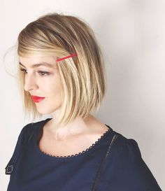 Coloured Hair Pin - 5 minute hairstyles for bobs and lobs 5 Minute Hairstyles, Hairstyles Haircuts, Pretty Hairstyles, Blonde Hairstyles, Stylish Hairstyles, Trendy Haircuts, Simple Hairstyles, Medium Hairstyles, Ombré Hair