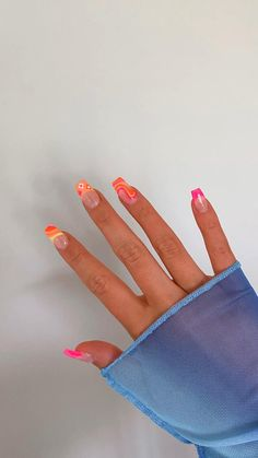 Colored Acrylic Nails, Acrylic Nails Coffin Short, Simple Acrylic Nails, Summer Acrylic Nails, Coffin Nails, Acrylic Nail Designs For Summer, Colourful Acrylic Nails, Square Acrylic Nails, Gel Nail Designs