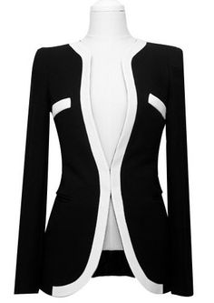 Women's Plus Size All Seasons Blazer,Color Block Long Sleeve White / Black Rayon…