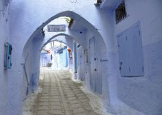 Archway in the Blue City of Chefchaouen, Morocco