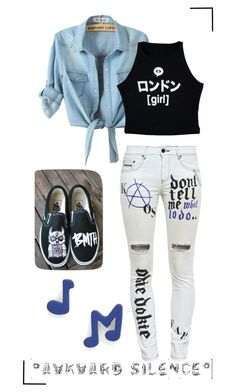 """Awkward Silence"" by irdina-n ❤ liked on Polyvore featuring Filles à papa, Illustrated People, Vans, Marc by Marc Jacobs, music, awkward, Jeanjacket, BMTH and thesejeans"