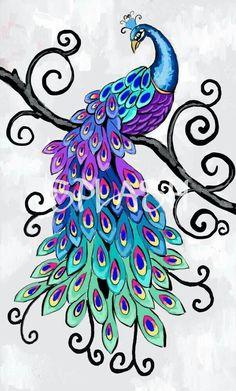 Passaro pinturas en 2019 Peacock art Colorful drawings y Bird art Peacock Drawing, Peacock Painting, Peacock Art, Fabric Painting, Peacock Colors, Peacock Design, Watercolor Peacock Tattoo, Drawing Birds, Peacock Fabric