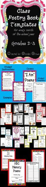 Class Poetry Books for EVERY month of the school year! Includes student/teacher instructions, poem examples, student templates, and class book covers.