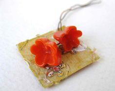 Vintage Venetian Orange Glass Flower Bead on Wire Coral