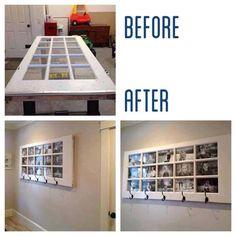 Great idea: turn old door into boo cuter display/ coat rack