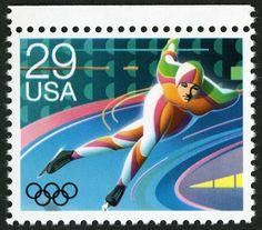 inline speed skating vintage postage stamp