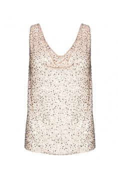LUCY EMBELLISHED TRAPEZE TOP in NUDE LIP/SILVER by Alice + Olivia