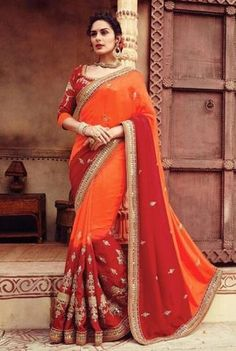 Orange & Maroon Pure Georgette & Net Saree Online ,Indian Dresses - 1
