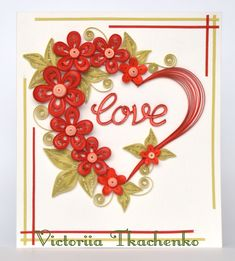 Delicate Valentine Quilling Card - Valentine's Day quilling Card - Anniversary…