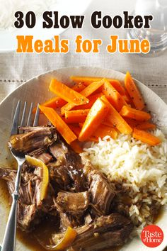Welcome summer with a month of easy slow-cooker meals. Just prep, place in the slow cooker, and you're on your way to a delicious dinner. Crock Pot Slow Cooker, Crock Pot Cooking, Slow Cooker Recipes, Crockpot Recipes, Cooking Recipes, Healthy Recipes, Cooking Games, Cooking Oil, Clean Eating Snacks