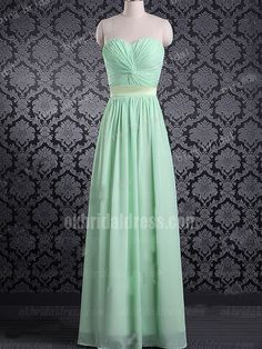 cheap long plus size green sleeveless bridesmaid dress   Cheap prom dresses Sale