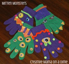Mitten Monster Birthday Party Activity  ~see making gloves pinned in Gardening with Kids.... Or decorate in gardening theme
