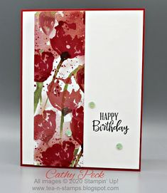 Simple Birthday with Peaceful Poppies DSP from Stampin' Up! by Cathy Peck Poppy Cards, Stamping Up Cards, Rubber Stamping, Happy Birthday Cards, Birthday Greetings, Birthday Wishes, Card Sketches, Flower Cards, Scrapbook Paper