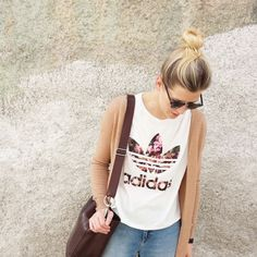 tifmys - Ray Ban Clubmaster, sunnies, H&M cardigan, Adidas Orchid shirt &  M0851 Hobo bag.