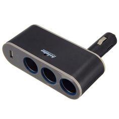 #BangGood - #Eachine1 3 Socket Adapter Splitter USB Port Charger Car Cigarette Lighter - AdoreWe.com