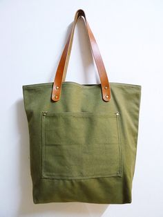 Leathinity - Military Green Canvas Tote Bag w/ Genuine Leather Handles - Eco…