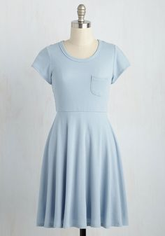 Purely Picturesque Dress - Blue, Solid, Casual, A-line, Short Sleeves, Summer, Knit, Good, Mid-length, Americana