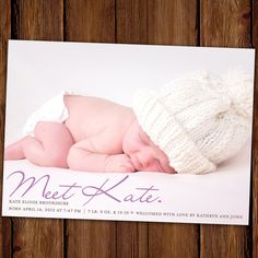 $64.50 for 50 Meet the Baby Birth Announcement