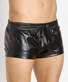 Leather Trunks, the more I look at them the more I like them. Satin Underwear, Boys Underwear, Leather Blazer, Leather Men, Short Cuir, Men Accesories, Leder Outfits, Plastic Pants, Big Men Fashion