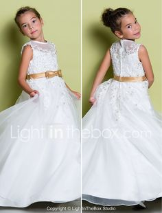 c1977ec9542   69.99  A-Line Floor Length Flower Girl Dress - Organza Sleeveless Jewel  Neck with Appliques by LAN TING BRIDE®
