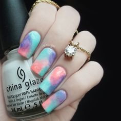 Colorful Sponged Nails
