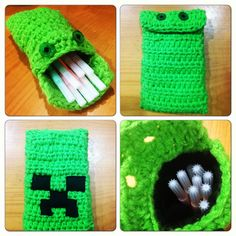 Crochet Toys For Boys Minecraft creeper pencil case, crochet Kawaii Crochet, Cute Crochet, Crochet Baby, Crochet Classes, Crochet Projects, Crochet Gifts, Crochet Toys, Minecraft Pattern, Minecraft Crochet Patterns