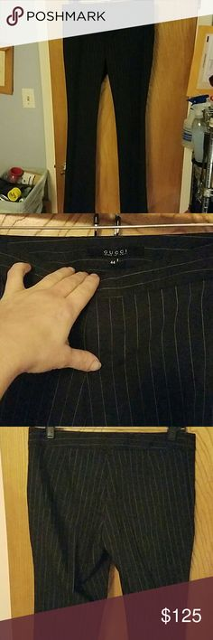 GUCCI TROUSERS you will keep and wear forever! these trousers will never go out of style...because they are that fabulous!!  black wide pinstripe light weight wool plain front button, zipper & clasp closure size 44 (Italian sizing....because they're made in italy) Gucci Pants Trousers
