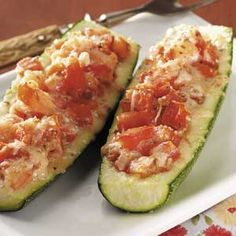 Tomato Stuffed Zucchini Recipe | Taste of Home Recipes - made my own version of this last night with Philly cream cheese added...D-lish!!! Vegetable Dishes, Vegetable Recipes, Vegetarian Recipes, Healthy Recipes, Home Recipes, Cooking Recipes, Lasagna Recipes, Steak Recipes, Sandwich Recipes