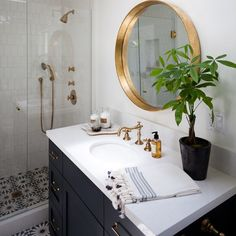 One of my favorite bathrooms to date!!!#rkguesthouse #kirstenmarieinc #interiordesign #brass #cementtile #martynlawrencebullard obsessed with this tile!