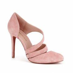 D'orsay heels - Devin pink suede double strap heels
