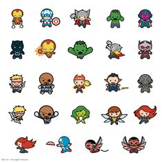 Marvel® Avengers Kawaii Digital Cartridge - Marvel - Licensed Designs - Cartridges & Images these are so Marvel Avengers, Chibi Marvel, Avengers Cartoon, Marvel Comics, Kawaii Drawings, Cartoon Drawings, Cute Drawings, Hxh Characters, Superhero Characters