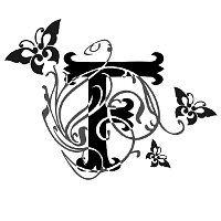 Tatuaggio di F con farfalle e fiori, Libertà, armonia tattoo - TattooTribes.com