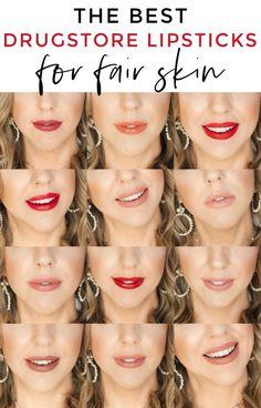The best drugstore lipsticks for fair skin via O. - Beauty, Mommy & Lifestyle Bl helle haut The Best Drugstore Lipsticks for Fair Skin + 16 Lip Swatches Best Drugstore Lipstick, Best Lipstick Color, Lipstick For Fair Skin, Best Lipsticks, Lipstick Shades, Liquid Lipstick, Drugstore Beauty, Lipstick Art, Beauty Makeup