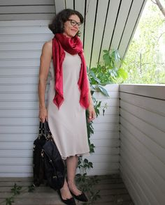 beige dress with red scarf LV