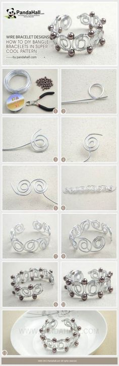 240 Beginner DIY Jewelry Tutorials Jewelry Making Tutorial / Feeding your obsession with wire wrap things, you can never ignore the wire bracelet designs today. Wire Wrapped Jewelry, Wire Jewelry, Jewelry Crafts, Beaded Jewelry, Wire Rings, Diy Schmuck, Schmuck Design, Bracelet Fil, Bangle Bracelets