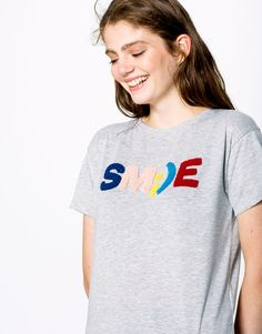 Pull&Bear - woman - new products - smile t-shirt - grey marl…
