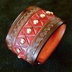 Leather Cuff Carved