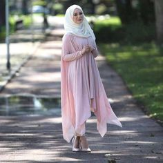 pink blush long cardigan hijab