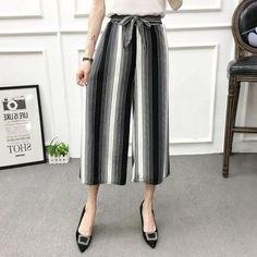 44d54df5cc712 Women New Summer Wide Leg Pants Casual Loose High Elastic Waist Harem Pants  Loose Belt Striped Elasticated Trousers