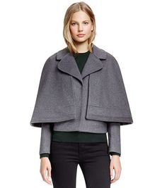 Tory Burch | Jess Convertible Jacket with Removable Cape | Gray Melange