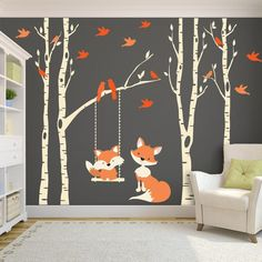 Woodland Nursery FOX & Trees Wall Decal 4 Birch Trees Nursery Decor Baby FOX Decal Swings from Branch Wall Decal Forest Baby Bedroom - 4 Removable Vinyl Decal River Birch TREES with 6 branches, and 1 swing in the color of your choice - Baby Bedroom, Baby Room Decor, Kids Bedroom, Wall Decor, Bedroom Wall, Forest Decor, Woodland Nursery Decor, Nursery Trees, Fox Nursery