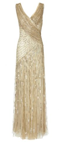 ARIELLA - Juliet Sequin Gown Gold - Hire £89