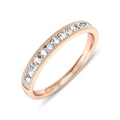 Alliance Julia par Zeina Alliances :  Demi tour diamants or rose serti rail perlé.  #Weeding #Zeinaalliances #Alliances #Diamants Alliance Or Rose, Bridezilla, Gold Rings, Wedding Rings, Rose Gold, Jewels, Tour, Bracelets, 1