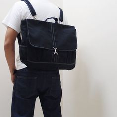 Sale Promo  Black Canvas Unisex Backpack Rucksack by Kinies, $65.00