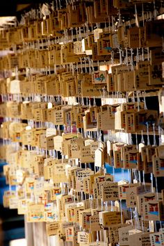 Many people's wishes, Itsukushima Shrine Japan. Ema is a wooden panel. Peoples write their wishes on the ema.