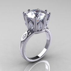 Classic 14K White Gold Marquise and 50 CT Round by artmasters, $1549.00
