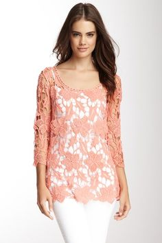 Hazel & Jaloux Cotton Crocheted Lace Top by Non Specific on @HauteLook