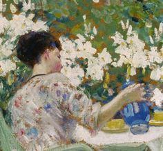 Hoolyhocks Frederick Carl Frieseke (April 1874 – August was an American Impressionist painter who spent most of his life as an expatriate in France. American Impressionism, Impressionist Artists, Tea Art, Portraits, Whistler, American Artists, Art History, Oil On Canvas, Fries