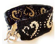 Paris Lovers Bracelet with Blue and Black Beads  Paris City