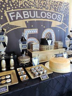 Dessert table from a Fabulous 50 Black & Gold Birthday Party via Kara's… Moms 50th Birthday, 70th Birthday Parties, Gold Birthday Party, Fabulous Birthday, Adult Birthday Party, 50th Party, 50th Birthday Themes, 50th Birthday Party Decorations, Great Gatsby Party